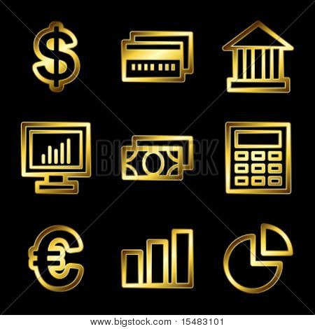 Gold luxury finance web icons V2