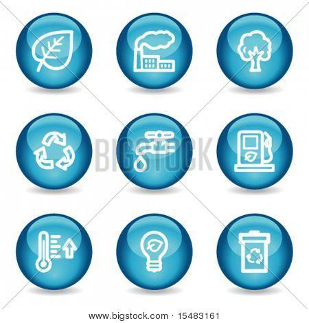 Eco Web Icons, blau glänzende Kugel Serie