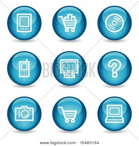 Electronics web icons, blue glossy sphere series