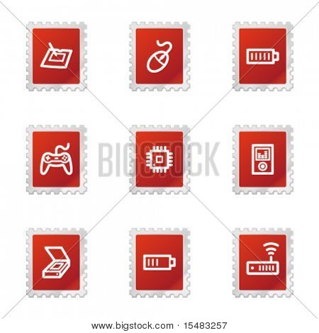 Electronics web icons, red stamp series set 2