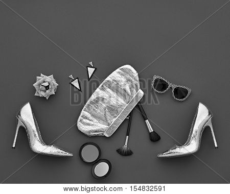 Fashion woman Clothes Accessories Set. Fashion Design Outfit. Black White. Essentials fashion Cosmetic Makeup. Stylish Glamor fashion Heels, Handbag Clutch, Rose. Top view. Creative.Minimal Monochrome