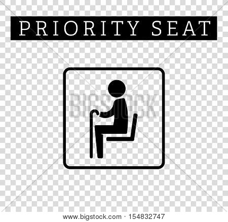 Seniors or old man sign. Priority seating for customers, special place icon isolated on background. Vector illustration flat style.