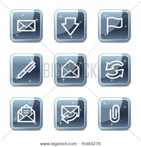 E-mail web icons, square blue mineral buttons series