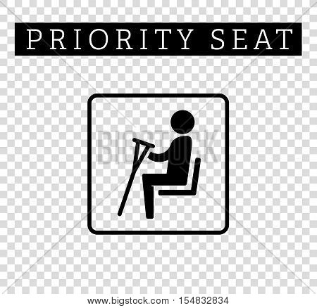 Disabilities or cripple with crutches sign. Priority seating for customers, special place icon isolated on background. Vector illustration flat style