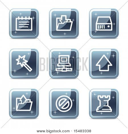 Data web icons, square blue mineral buttons series