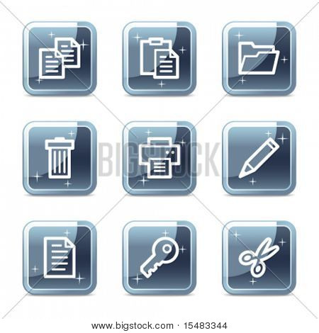 Document web icons, square blue mineral buttons series