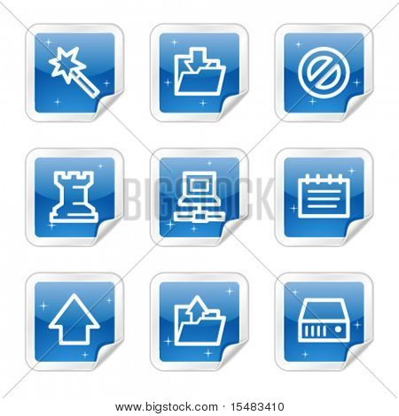 Data web icons, blue glossy sticker series