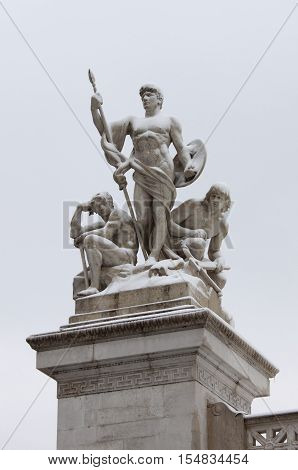 Victor Emmanuel II monument under snow in Rome Italy