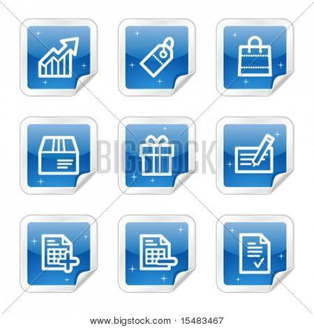 Shopping web icons, blue glossy sticker series