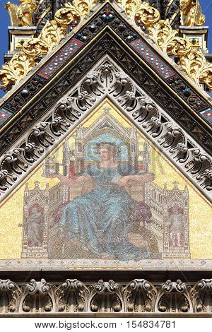 Mosaic on Prince Albert Memorial in Kensington Gardens. London, UK