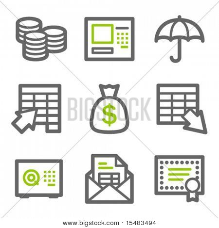 Banking web icons, green and gray contour series