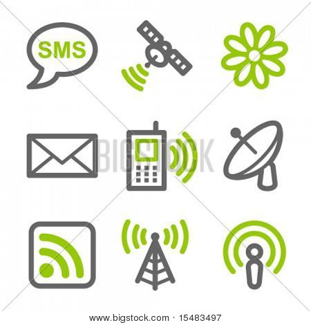 Communication web icons, green and gray contour series