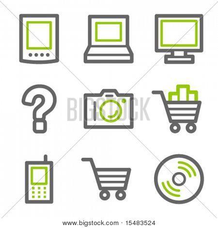 Serie del contorno de la electrónica web iconos, verde y gris