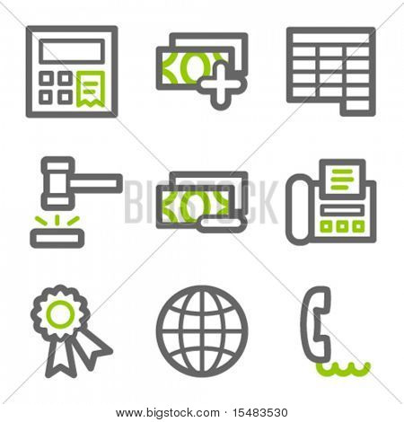 Finance web icons, green and gray contour series set 2