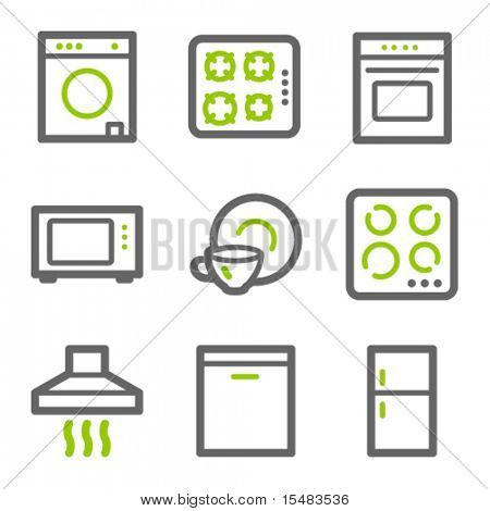 Home appliances web icons, green and gray contour series