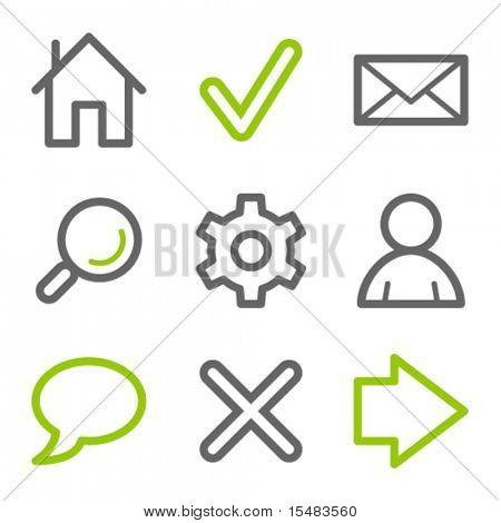 Grundlegende Web-Icons, grün und grau-contour-Serie
