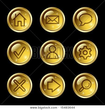 Basic web icons, gold glossy buttons series