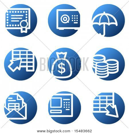 Banking web icons, blue circle series