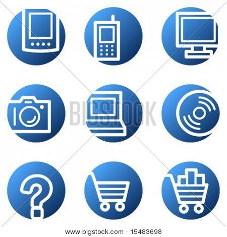 Electronics web icons, blue circle series