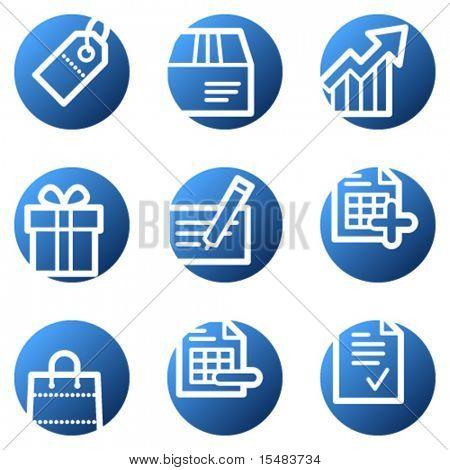 Shopping web icons, blue circle series