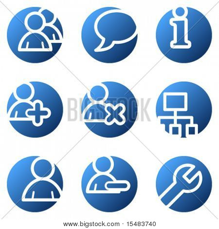 Users web icons, blue circle series