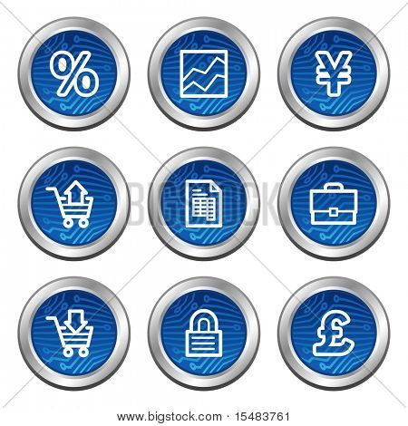 Business web icons, blue electronics buttons series