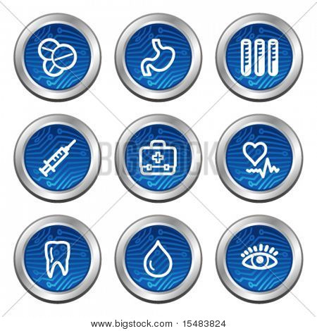Medicine web icons, blue electronics buttons series