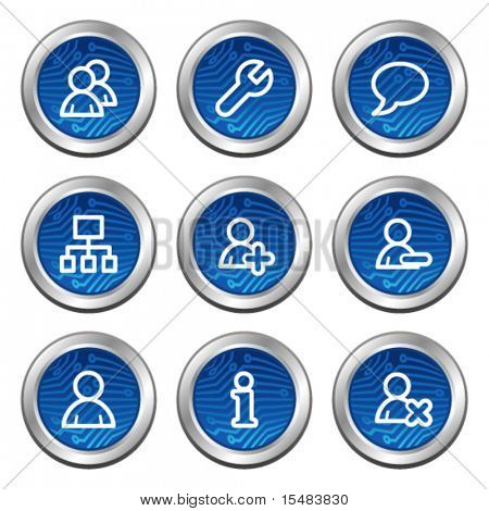 Users web icons, blue electronics buttons series