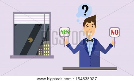 Yes or No. Choice. Thinking young man with yes or no choice on room background