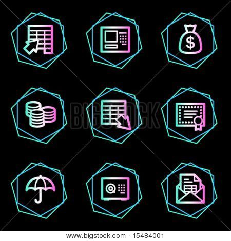 Banking web icons, neon contour series