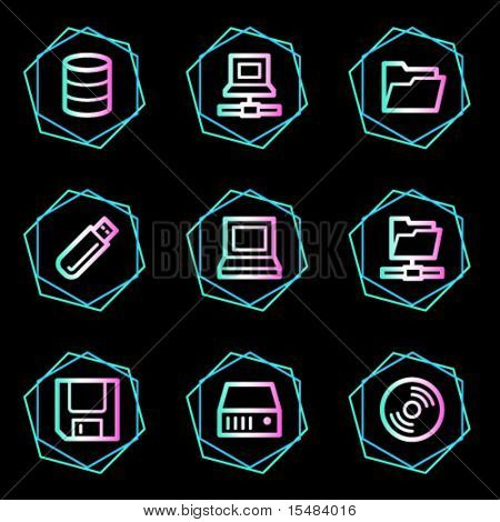 Drives and storage web icons, neon contour series