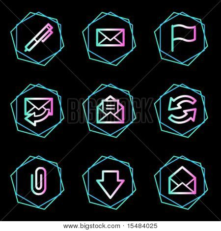 E-mail web icons, neon contour series