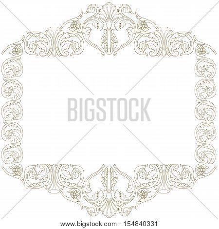 Vintage frame, baroque frame, scroll frame, ornamental frame, engraving frame, border floral frame, retro frame. Vector.