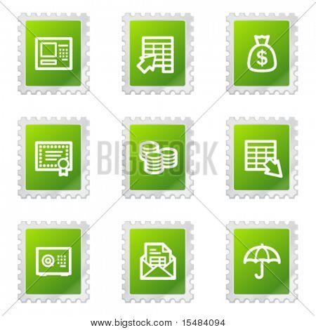 Banking web icons, green stamp series