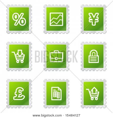 E-business web icons, green stamp series