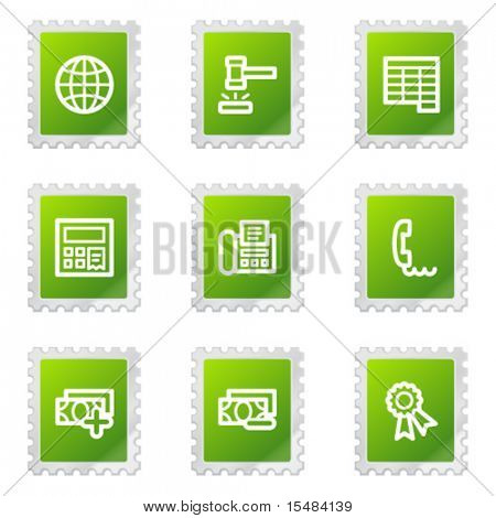 Finance web icons, green stamp series set 2