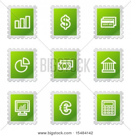 Finance web icons, green stamp series
