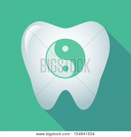 Long Shadow Tooth Icon With A Ying Yang