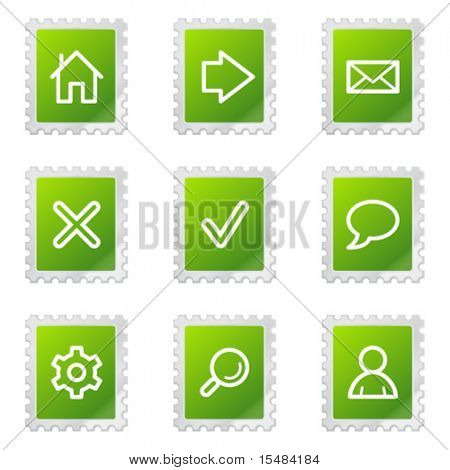 Basic web icons, green stamp series