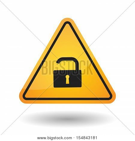 Isolated Danger Signal Icon With An Open Lock Pad