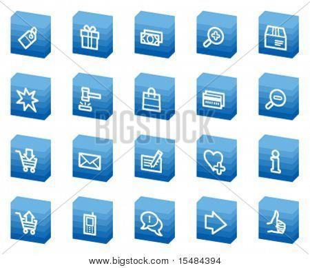 Shopping web icons, blue box series