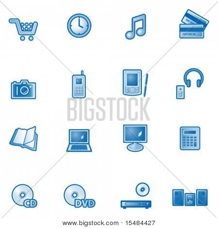 E-shop web icons, blue series