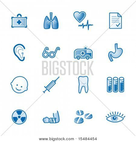 Medicine web icons, blue series