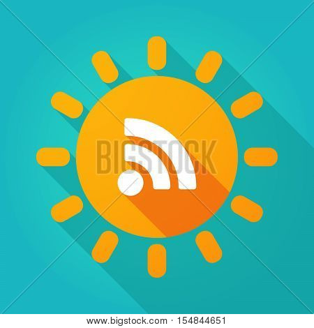 Long Shadow Bright Sun Icon With An Rss Sign