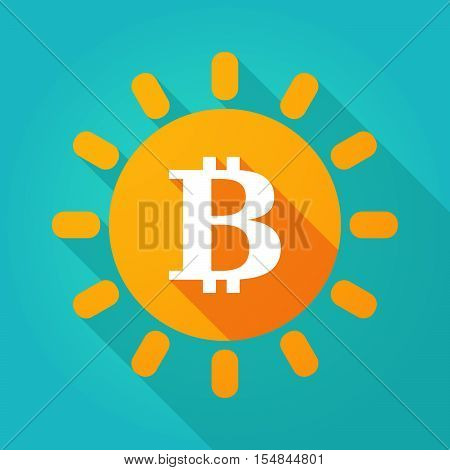 Long Shadow Bright Sun Icon With A Bit Coin Sign
