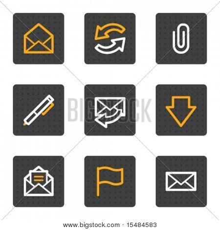 E-mail web icons, grey buttons series