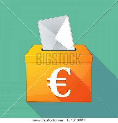 Long Shadow Coloured Ballot Box Icon With An Euro Sign