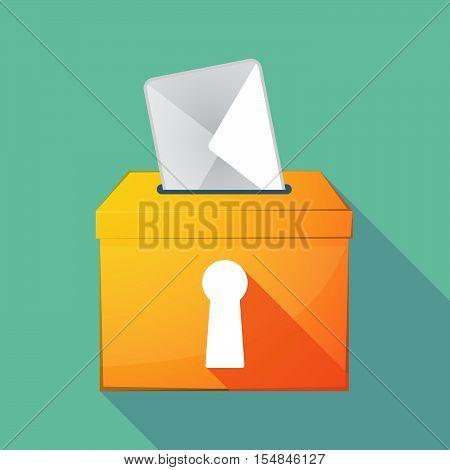 Long Shadow Coloured Ballot Box Icon With A Key Hole