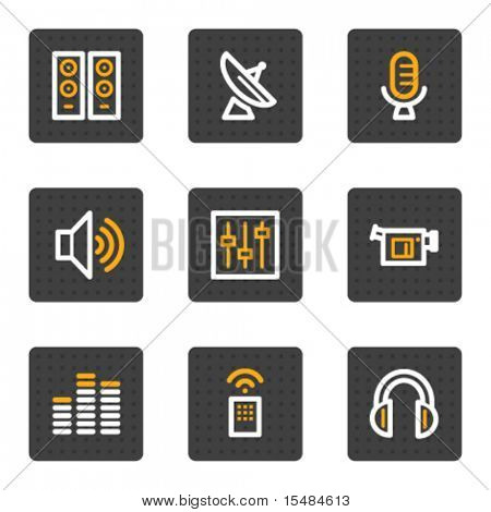 Media web icons, grey buttons series