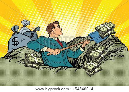 Retro businessman digs up money from the ground, pop art vector. Business and Finance